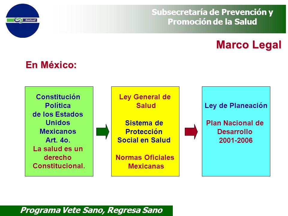 Programa Vete Sano, Regresa Sano Subsecretaría de Prevención y Promoción de la Salud Marco Legal Marco Legal Constitución Política de los Estados Unid