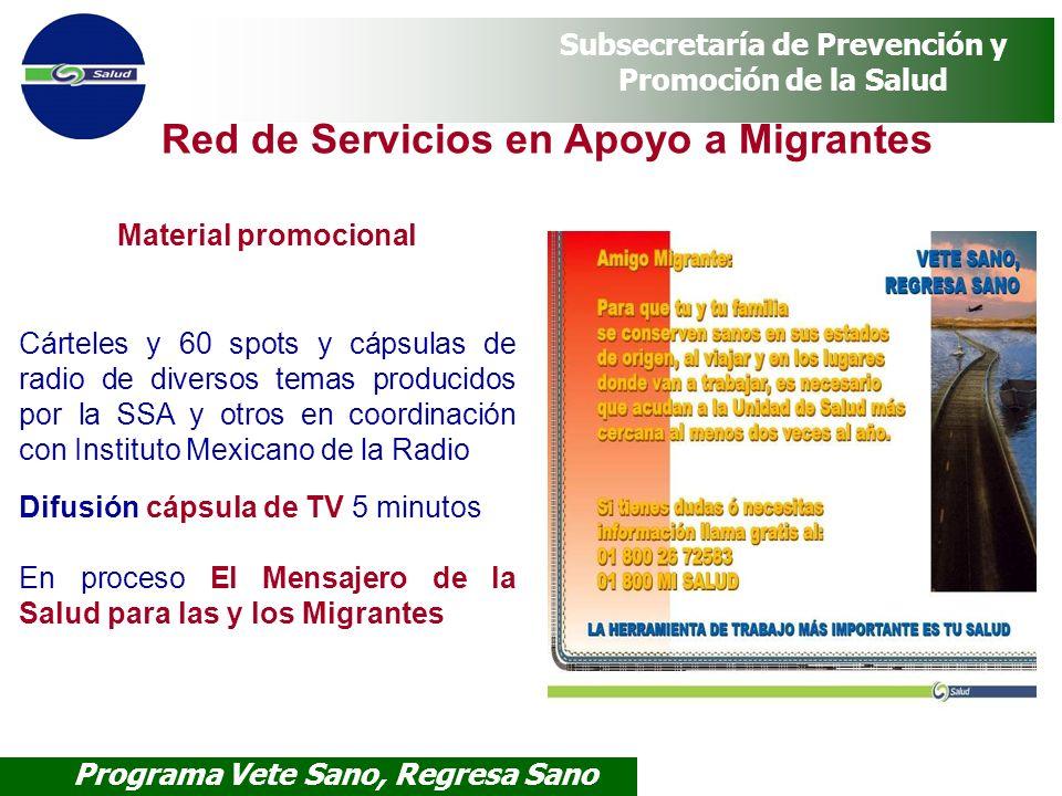 Programa Vete Sano, Regresa Sano Subsecretaría de Prevención y Promoción de la Salud Material promocional Cárteles y 60 spots y cápsulas de radio de d