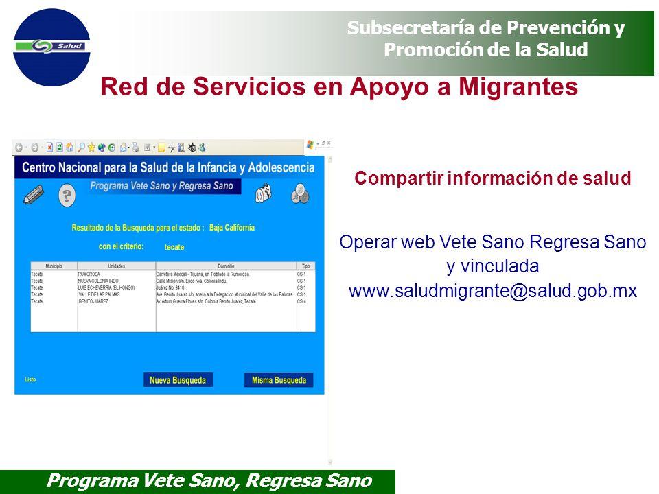 Programa Vete Sano, Regresa Sano Subsecretaría de Prevención y Promoción de la Salud Compartir información de salud Operar web Vete Sano Regresa Sano