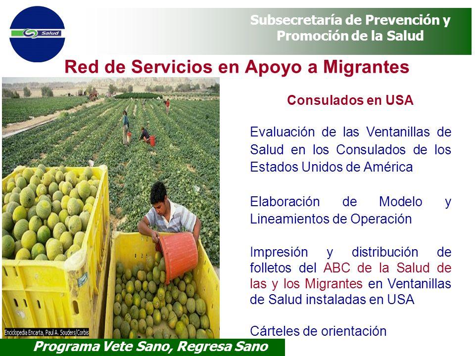 Programa Vete Sano, Regresa Sano Subsecretaría de Prevención y Promoción de la Salud Red de Servicios en Apoyo a Migrantes Consulados en USA Evaluació