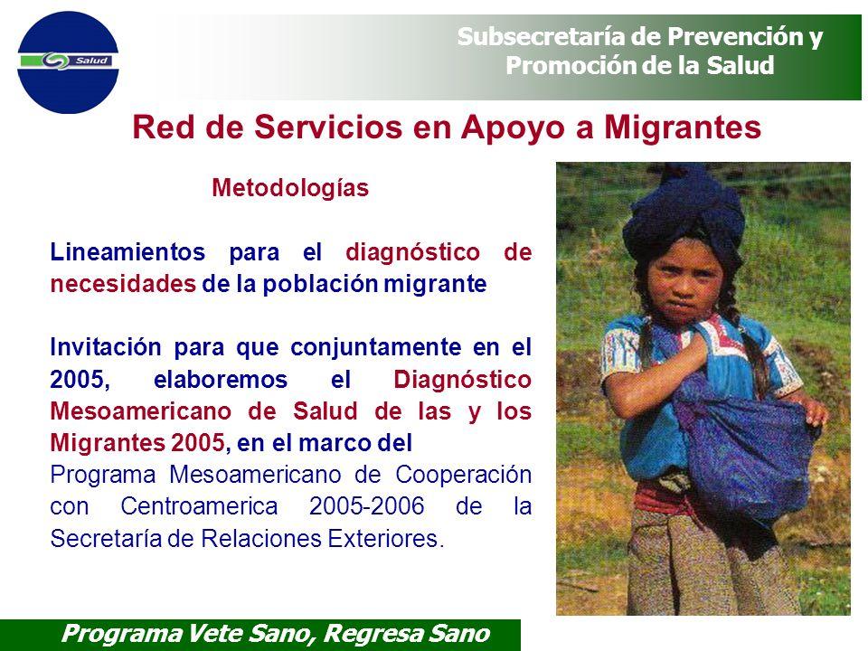 Programa Vete Sano, Regresa Sano Subsecretaría de Prevención y Promoción de la Salud Red de Servicios en Apoyo a Migrantes Metodologías Lineamientos p