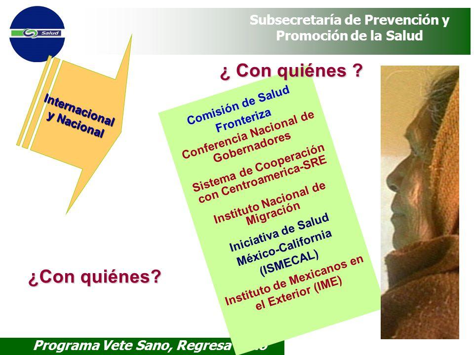Programa Vete Sano, Regresa Sano Subsecretaría de Prevención y Promoción de la Salud Comisión de Salud Fronteriza Conferencia Nacional de Gobernadores
