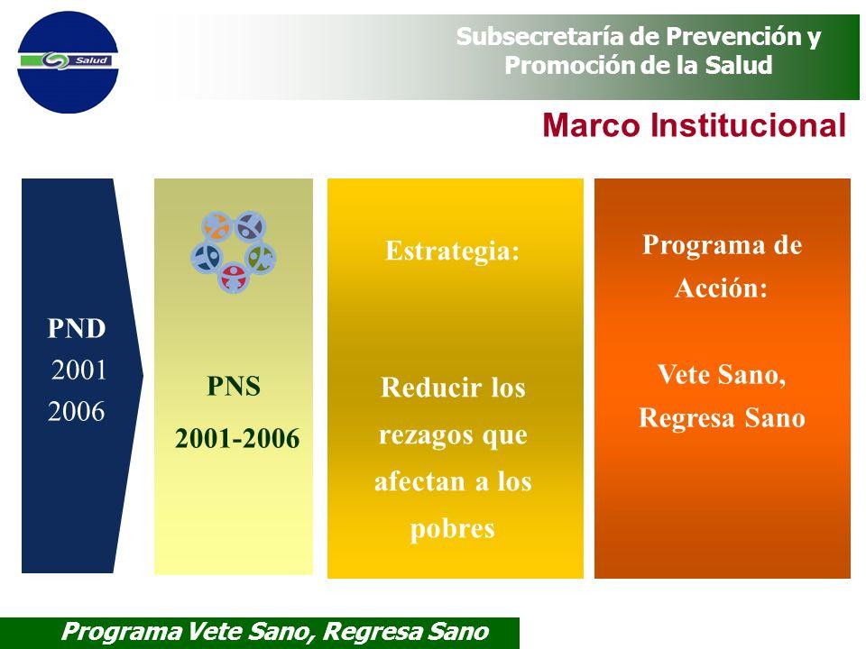 Programa Vete Sano, Regresa Sano Subsecretaría de Prevención y Promoción de la Salud PND 2001 2006 PNS 2001-2006 Programa de Acción: Vete Sano, Regres