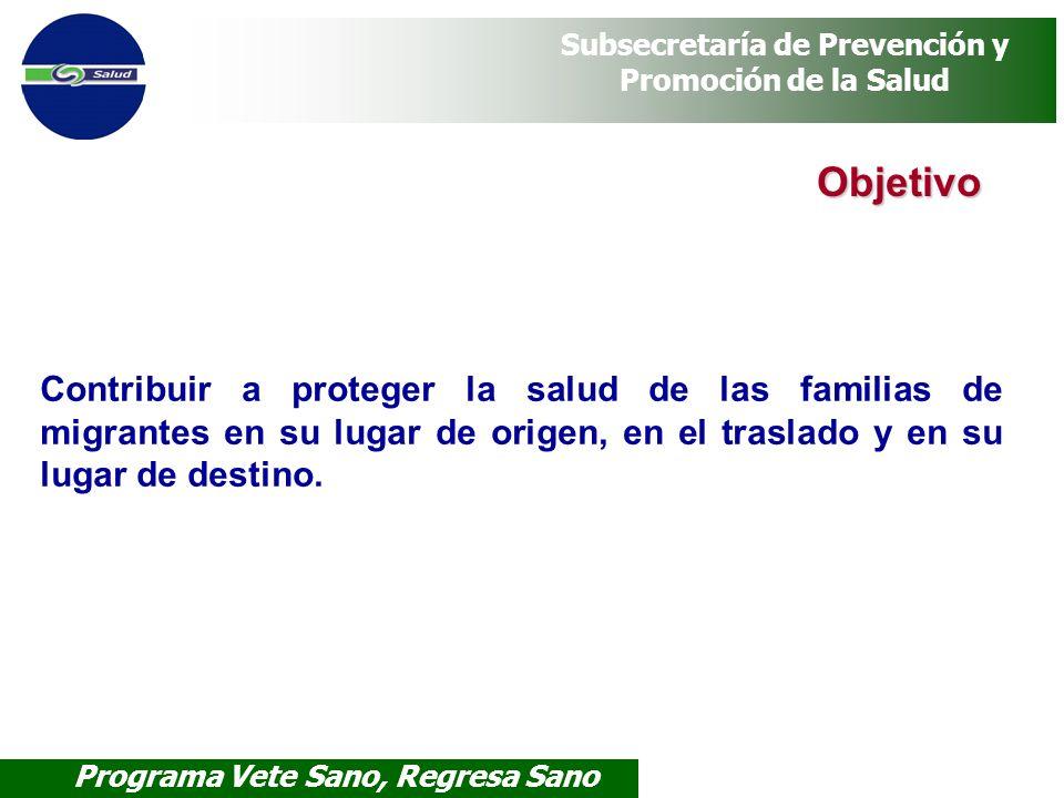 Programa Vete Sano, Regresa Sano Subsecretaría de Prevención y Promoción de la Salud Objetivo Contribuir a proteger la salud de las familias de migran