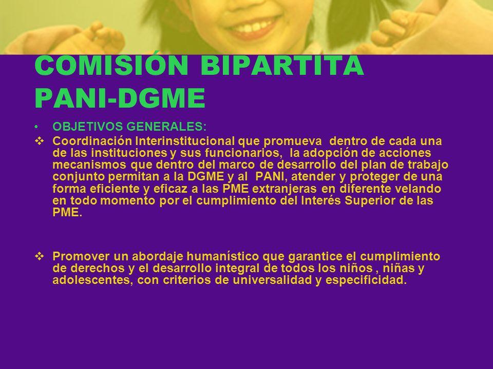 COMISIÓN BIPARTITA PANI-DGME OBJETIVOS GENERALES: Coordinación Interinstitucional que promueva dentro de cada una de las instituciones y sus funcionar