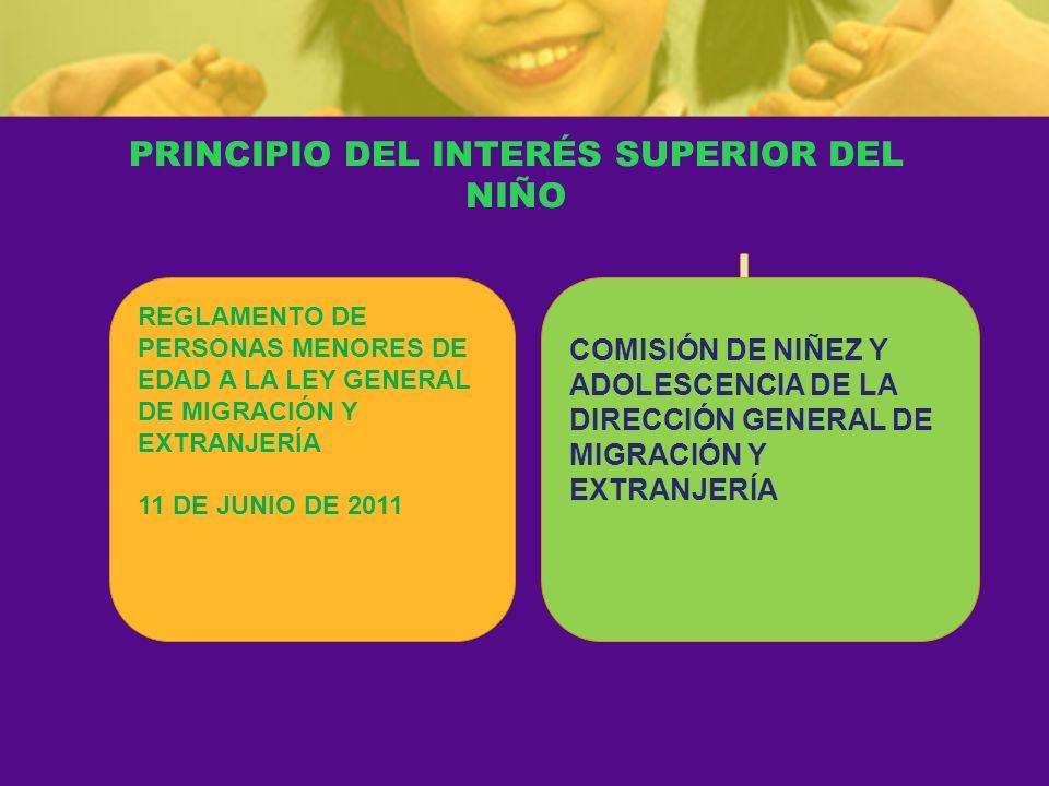 PRINCIPIO DEL INTERÉS SUPERIOR DEL NIÑO REGLAMENTO DE PERSONAS MENORES DE EDAD A LA LEY GENERAL DE MIGRACIÓN Y EXTRANJERÍA 11 DE JUNIO DE 2011 COMISIÓ