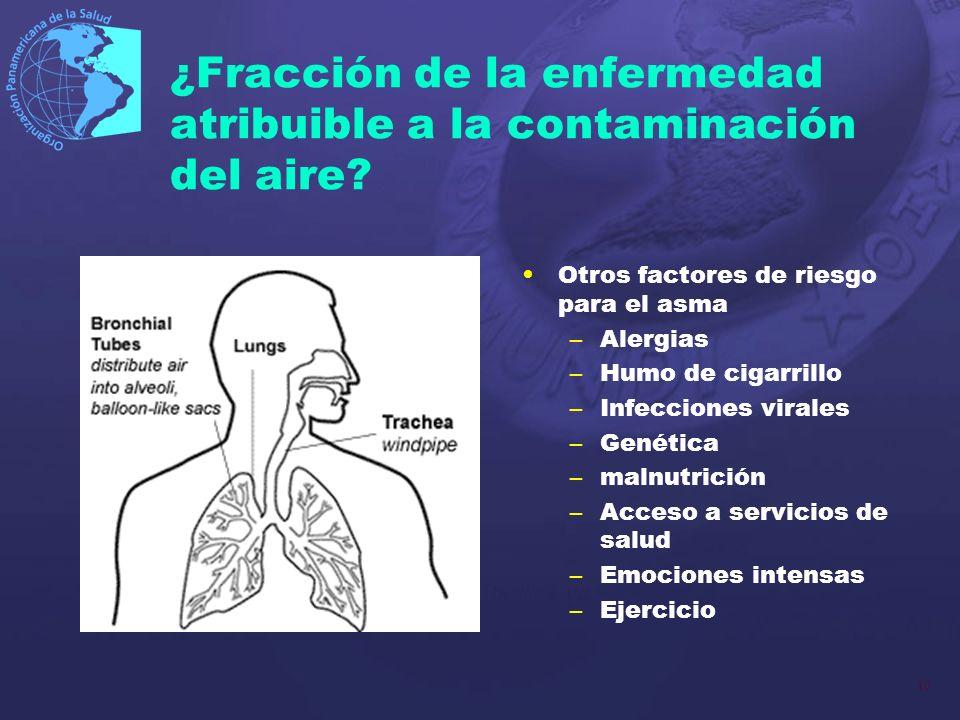 10 ¿Fracción de la enfermedad atribuible a la contaminación del aire? Otros factores de riesgo para el asma –Alergias –Humo de cigarrillo –Infecciones