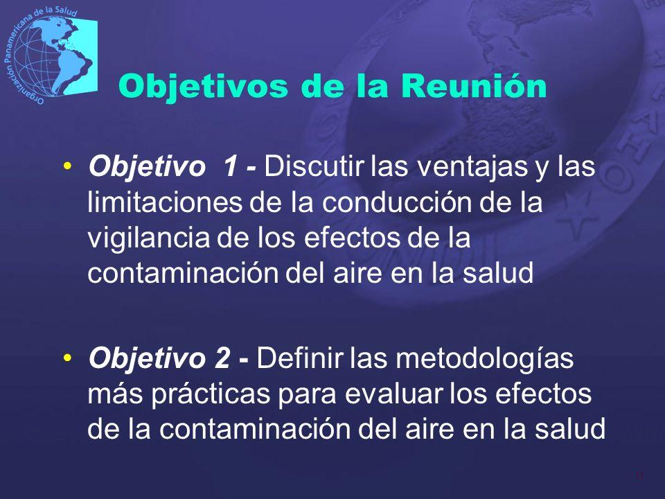 11 Objetivos de la Reunión Objetivo 1 - Discutir las ventajas y las limitaciones de la conducción de la vigilancia de los efectos de la contaminación