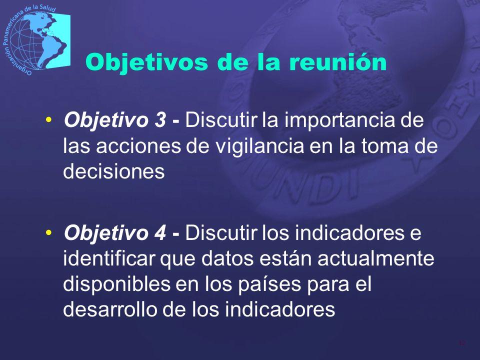 12 Objetivos de la reunión Objetivo 3 - Discutir la importancia de las acciones de vigilancia en la toma de decisiones Objetivo 4 - Discutir los indic
