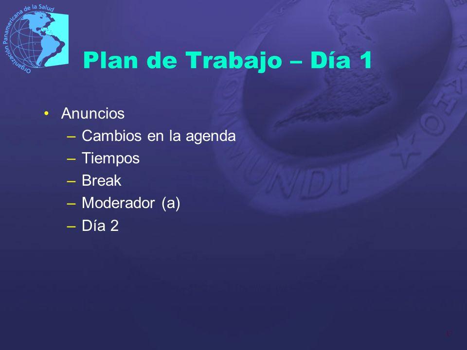 17 Plan de Trabajo – Día 1 Anuncios –Cambios en la agenda –Tiempos –Break –Moderador (a) –Día 2
