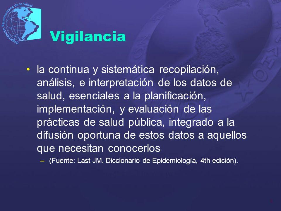 8 Vigilancia la continua y sistemática recopilación, análisis, e interpretación de los datos de salud, esenciales a la planificación, implementación,