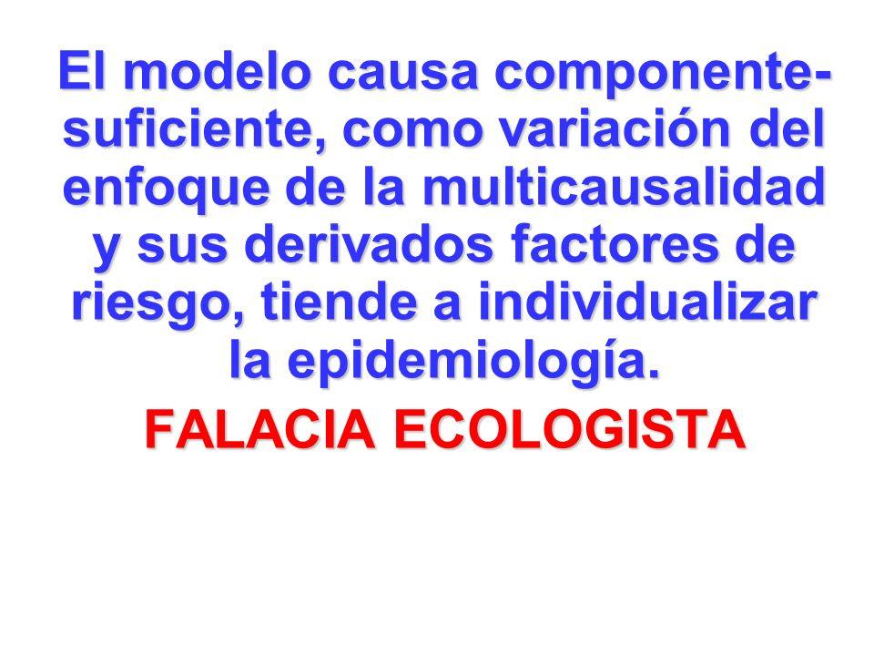 El modelo causa componente- suficiente, como variación del enfoque de la multicausalidad y sus derivados factores de riesgo, tiende a individualizar la epidemiología.