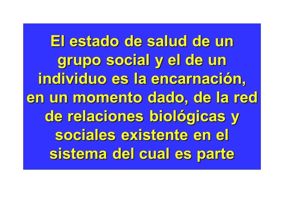 El estado de salud de un grupo social y el de un individuo es la encarnación, en un momento dado, de la red de relaciones biológicas y sociales existente en el sistema del cual es parte
