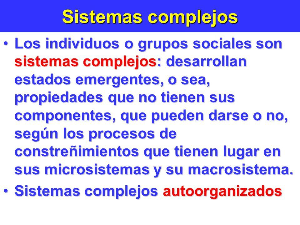 Sistemas complejos Los individuos o grupos sociales son sistemas complejos: desarrollan estados emergentes, o sea, propiedades que no tienen sus componentes, que pueden darse o no, según los procesos de constreñimientos que tienen lugar en sus microsistemas y su macrosistema.Los individuos o grupos sociales son sistemas complejos: desarrollan estados emergentes, o sea, propiedades que no tienen sus componentes, que pueden darse o no, según los procesos de constreñimientos que tienen lugar en sus microsistemas y su macrosistema.
