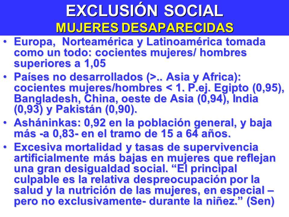 EXCLUSIÓN SOCIAL MUJERES DESAPARECIDAS Europa, Norteamérica y Latinoamérica tomada como un todo: cocientes mujeres/ hombres superiores a 1,05Europa, Norteamérica y Latinoamérica tomada como un todo: cocientes mujeres/ hombres superiores a 1,05 Países no desarrollados (>..