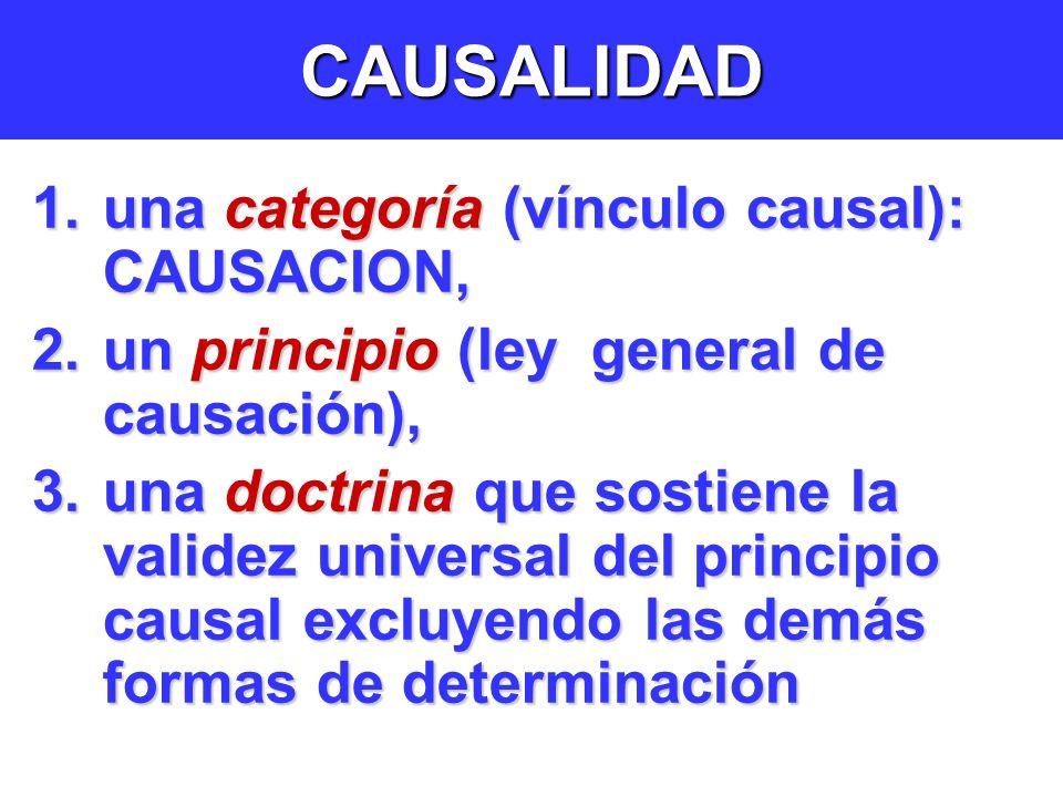 CAUSALIDAD 1.una categoría (vínculo causal): CAUSACION, 2.un principio (ley general de causación), 3.una doctrina que sostiene la validez universal del principio causal excluyendo las demás formas de determinación