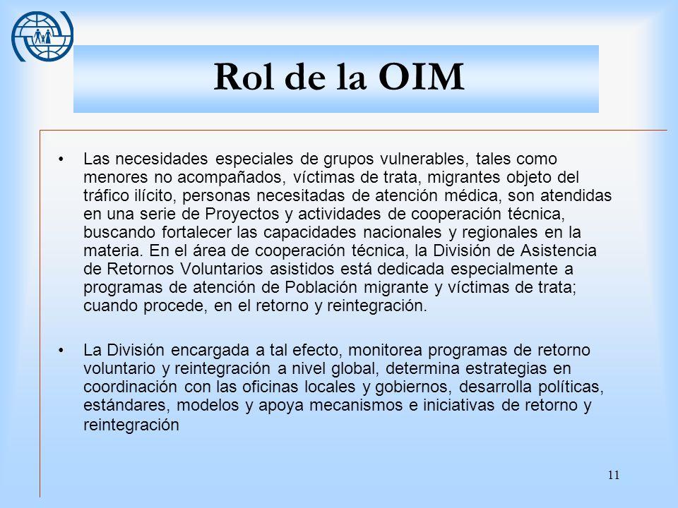 11 Rol de la OIM Las necesidades especiales de grupos vulnerables, tales como menores no acompañados, víctimas de trata, migrantes objeto del tráfico