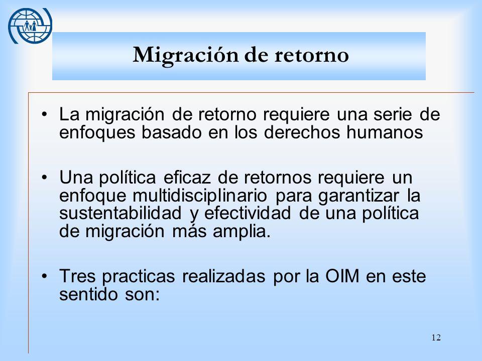 12 Migración de retorno La migración de retorno requiere una serie de enfoques basado en los derechos humanos Una política eficaz de retornos requiere