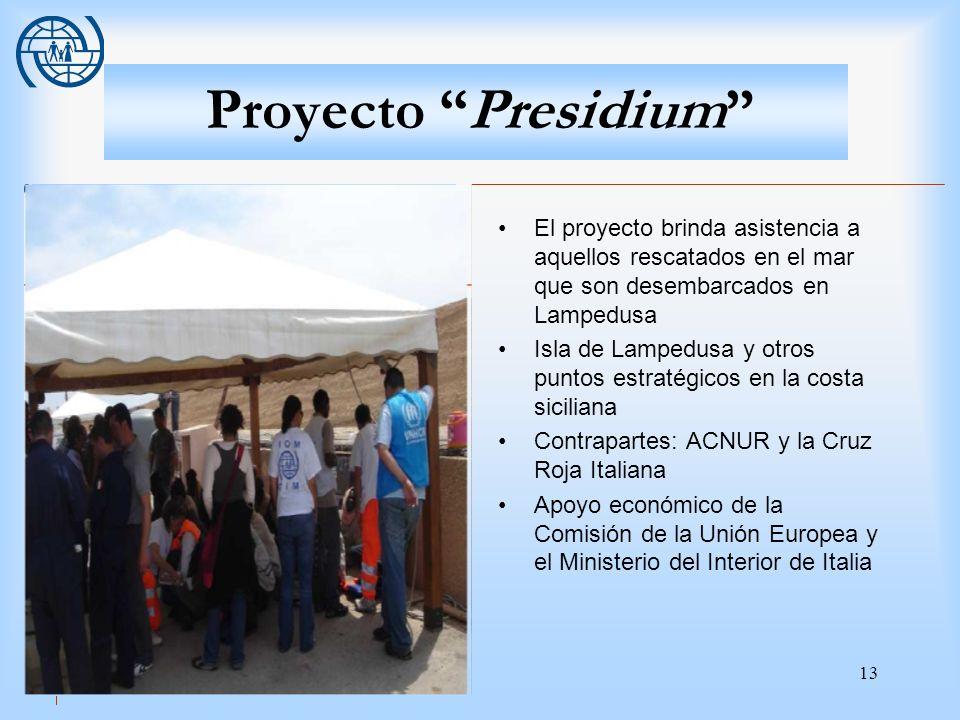13 Proyecto Presidium El proyecto brinda asistencia a aquellos rescatados en el mar que son desembarcados en Lampedusa Isla de Lampedusa y otros punto
