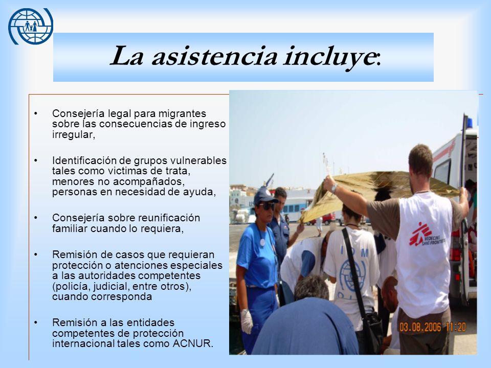 14 La asistencia incluye: Consejería legal para migrantes sobre las consecuencias de ingreso irregular, Identificación de grupos vulnerables tales com
