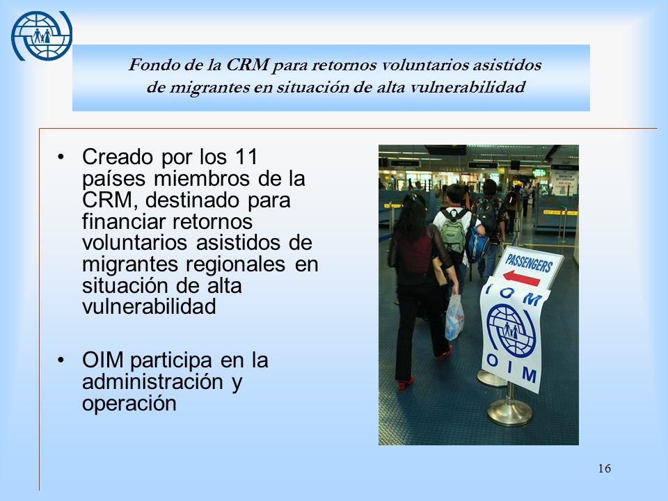 16 Fondo de la CRM para retornos voluntarios asistidos de migrantes en situación de alta vulnerabilidad Creado por los 11 países miembros de la CRM, d