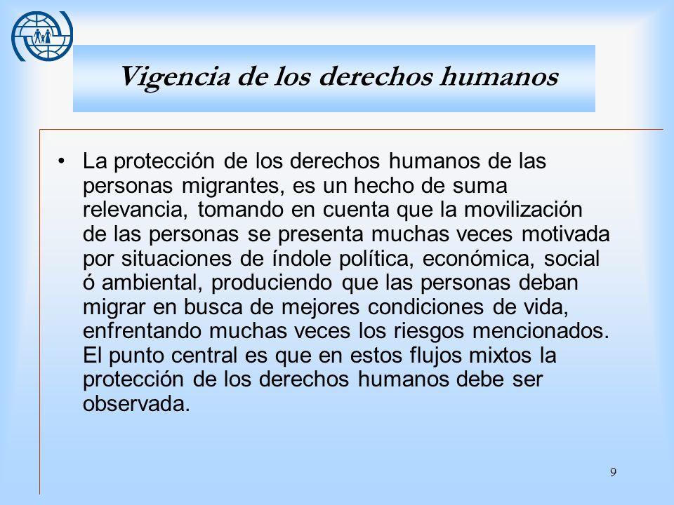 9 Vigencia de los derechos humanos La protección de los derechos humanos de las personas migrantes, es un hecho de suma relevancia, tomando en cuenta
