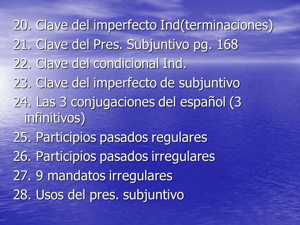 20. Clave del imperfecto Ind(terminaciones) 21. Clave del Pres. Subjuntivo pg. 168 22. Clave del condicional Ind. 23. Clave del imperfecto de subjunti