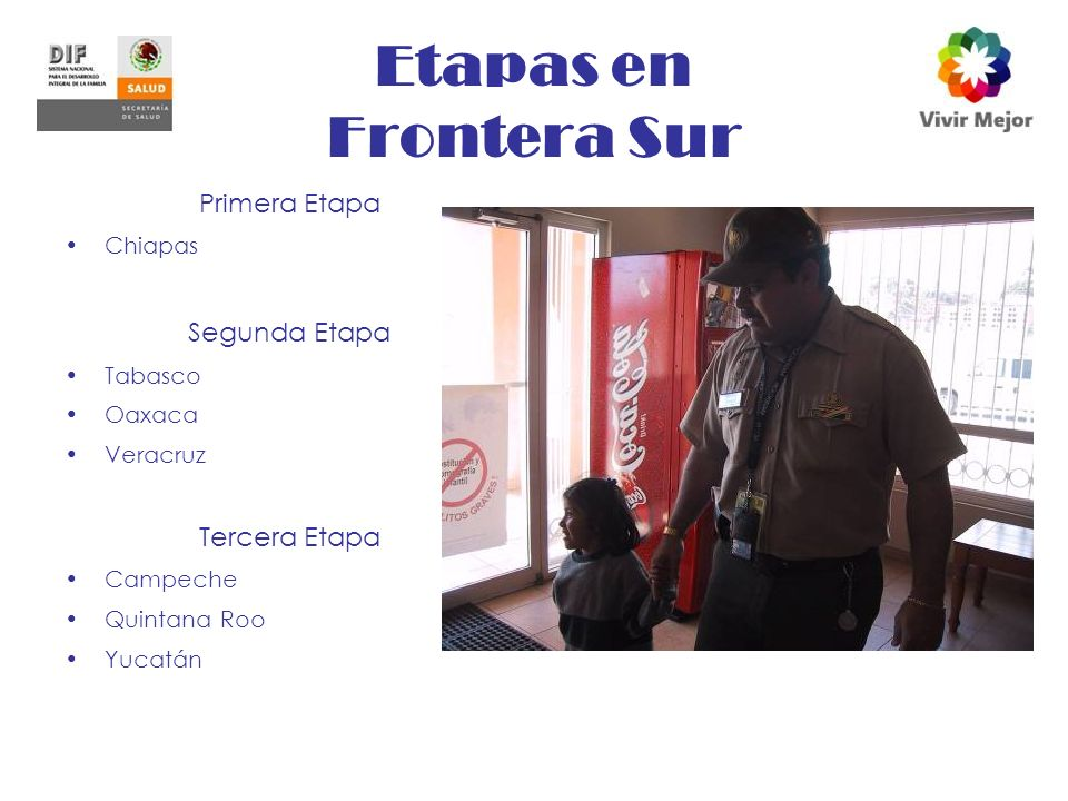 Etapas en Frontera Sur Primera Etapa Chiapas Segunda Etapa Tabasco Oaxaca Veracruz Tercera Etapa Campeche Quintana Roo Yucatán