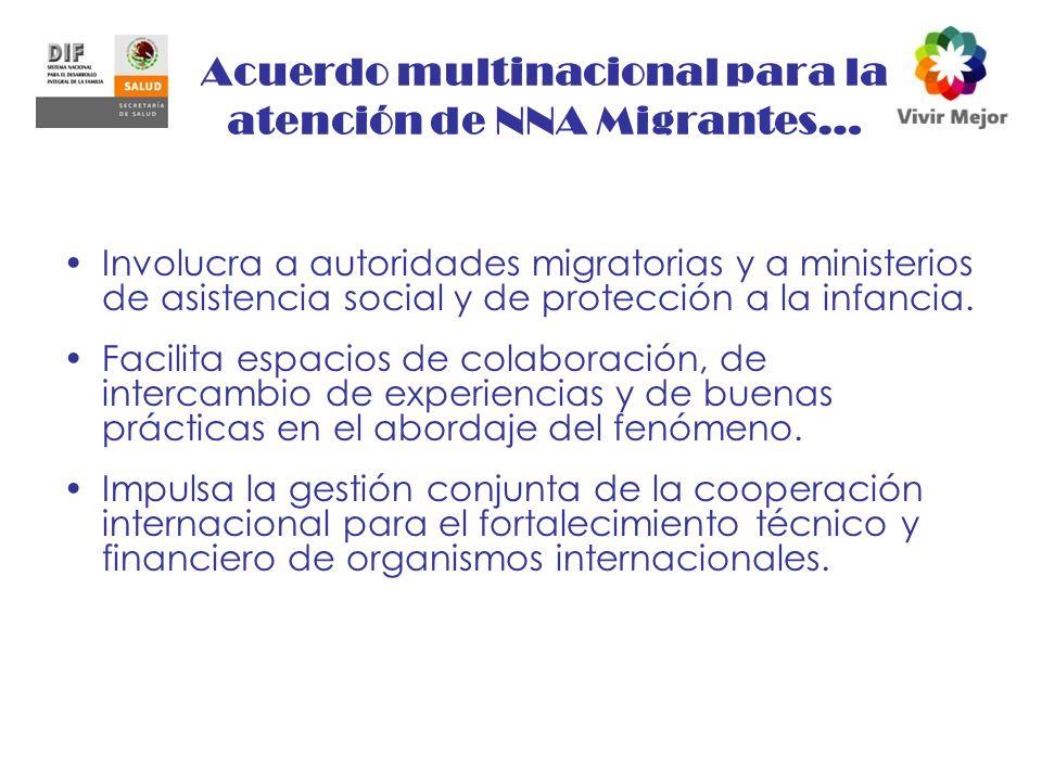 Acuerdo multinacional para la atención de NNA Migrantes… Involucra a autoridades migratorias y a ministerios de asistencia social y de protección a la infancia.