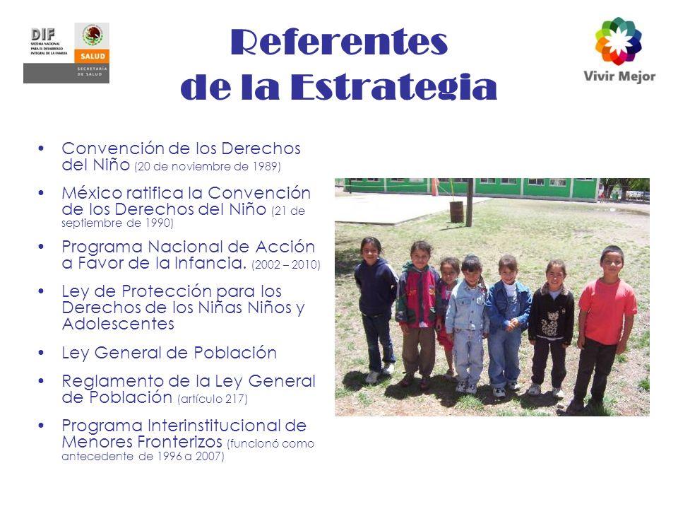 Referentes de la Estrategia Convención de los Derechos del Niño (20 de noviembre de 1989) México ratifica la Convención de los Derechos del Niño (21 de septiembre de 1990) Programa Nacional de Acción a Favor de la Infancia.