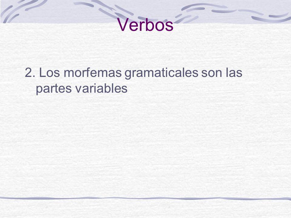 Verbos 2. Los morfemas gramaticales son las partes variables