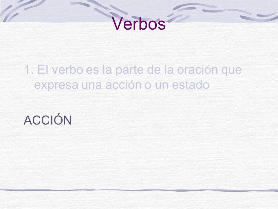 Verbos 1. El verbo es la parte de la oración que expresa una acción o un estado ACCIÓN