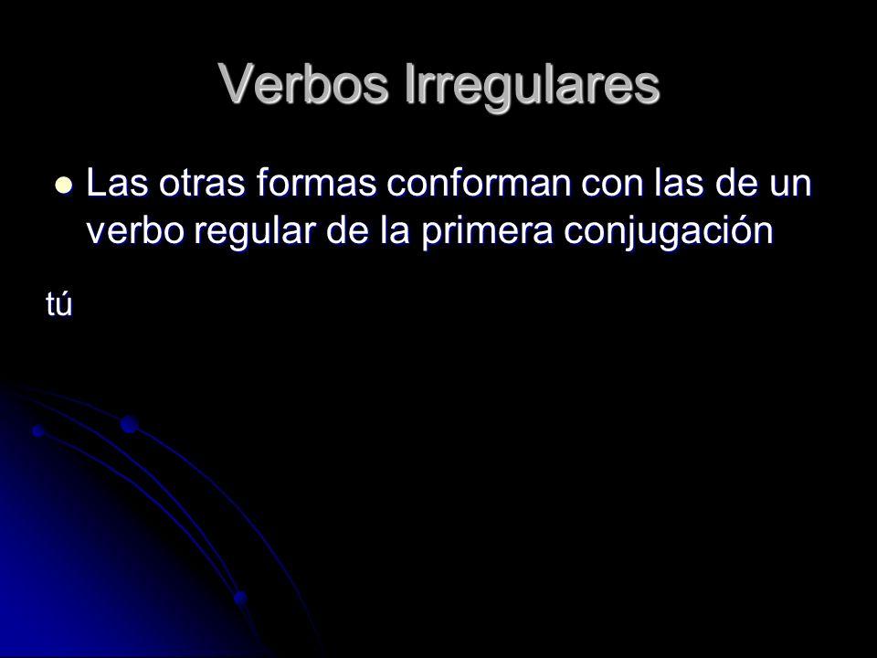 Verbos Irregulares Las otras formas conforman con las de un verbo regular de la primera conjugación Las otras formas conforman con las de un verbo reg