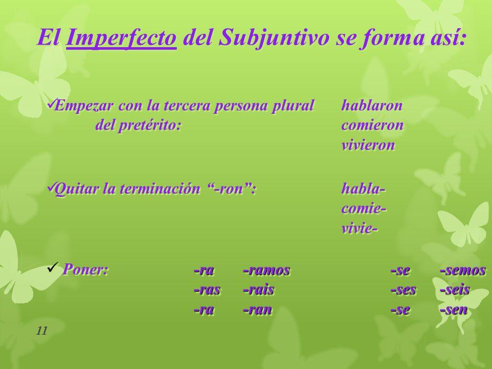 10 El Imperfecto Del subjuntivo El Imperfecto Del subjuntivo