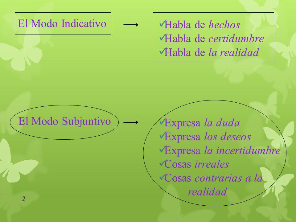 Existen tres modos verbales con los que una persona se expresa: 1 El Modo Subjuntivo El Modo Imperativo El Modo Indicativo