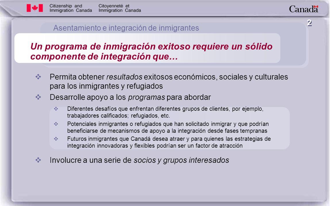2 Permita obtener resultados exitosos económicos, sociales y culturales para los inmigrantes y refugiados Desarrolle apoyo a los programas para abordar Diferentes desafíos que enfrentan diferentes grupos de clientes, por ejemplo, trabajadores calificados; refugiados, etc.