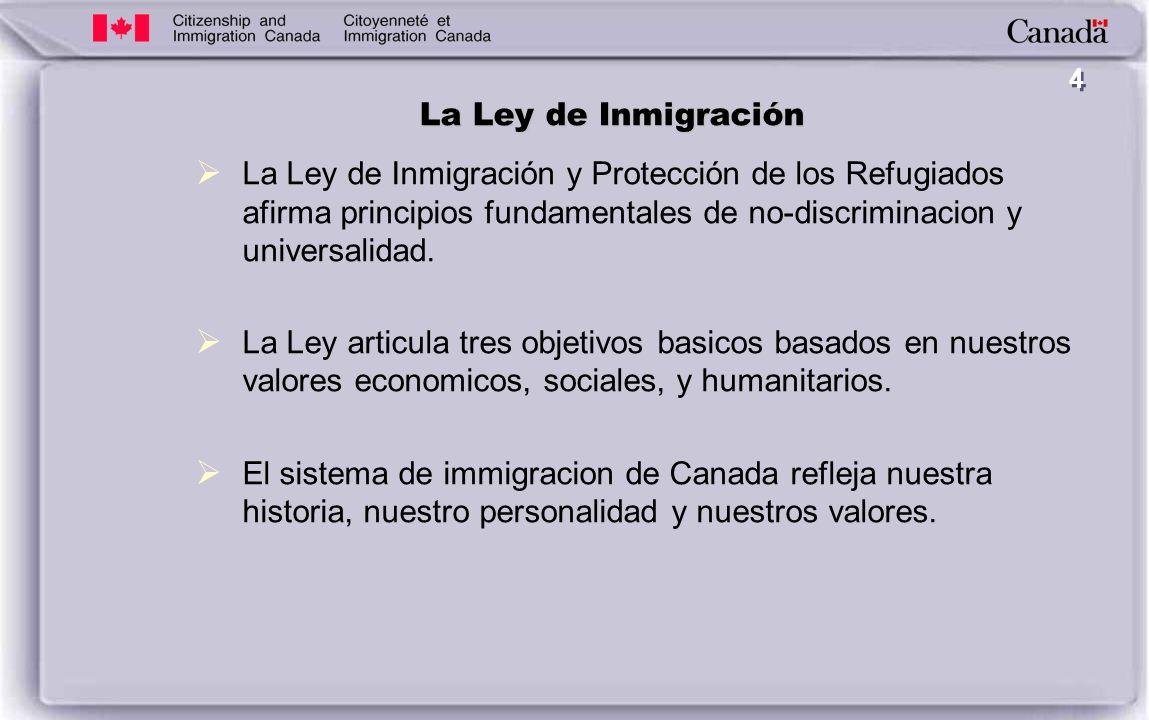 4 La Ley de Inmigración La Ley de Inmigración y Protección de los Refugiados afirma principios fundamentales de no-discriminacion y universalidad.