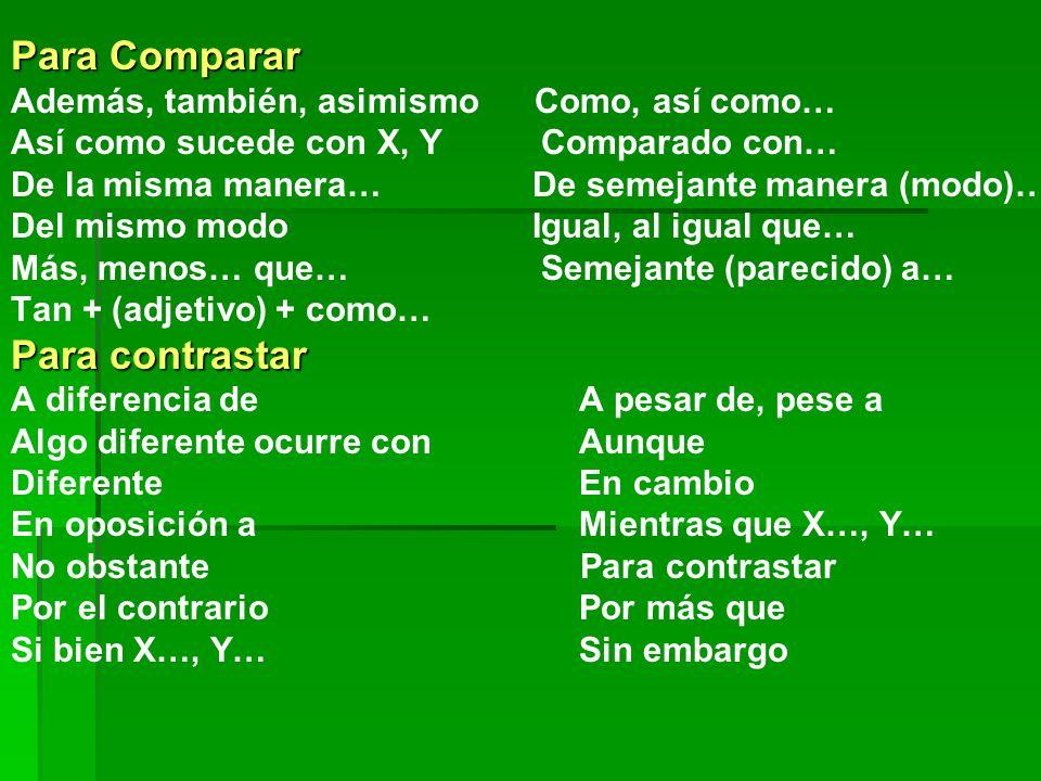 Para Comparar Además, también, asimismo Como, así como… Así como sucede con X, Y Comparado con… De la misma manera… De semejante manera (modo)… Del mismo modo Igual, al igual que… Más, menos… que… Semejante (parecido) a… Tan + (adjetivo) + como… Para contrastar A diferencia de A pesar de, pese a Algo diferente ocurre con Aunque Diferente En cambio En oposición a Mientras que X…, Y… No obstante Para contrastar Por el contrario Por más que Si bien X…, Y… Sin embargo