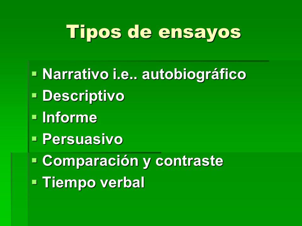 Tipos de ensayos Narrativo i.e..autobiográfico Narrativo i.e..