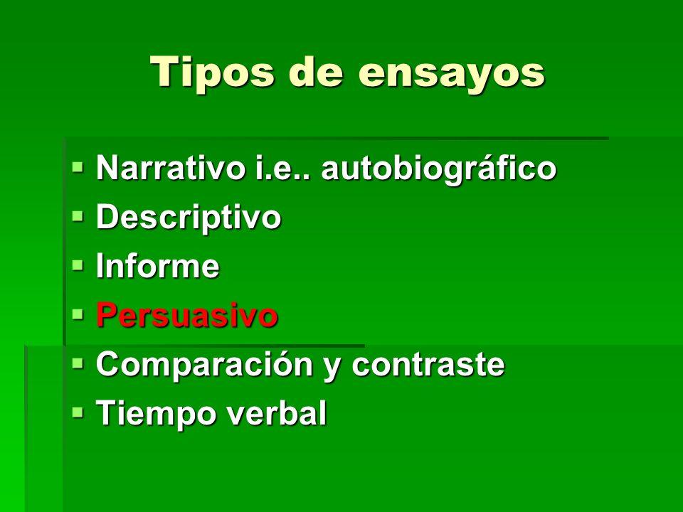 Tipos de ensayos Narrativo i.e.. autobiográfico Narrativo i.e.. autobiográfico Descriptivo Descriptivo Informe Informe Persuasivo Persuasivo Comparaci