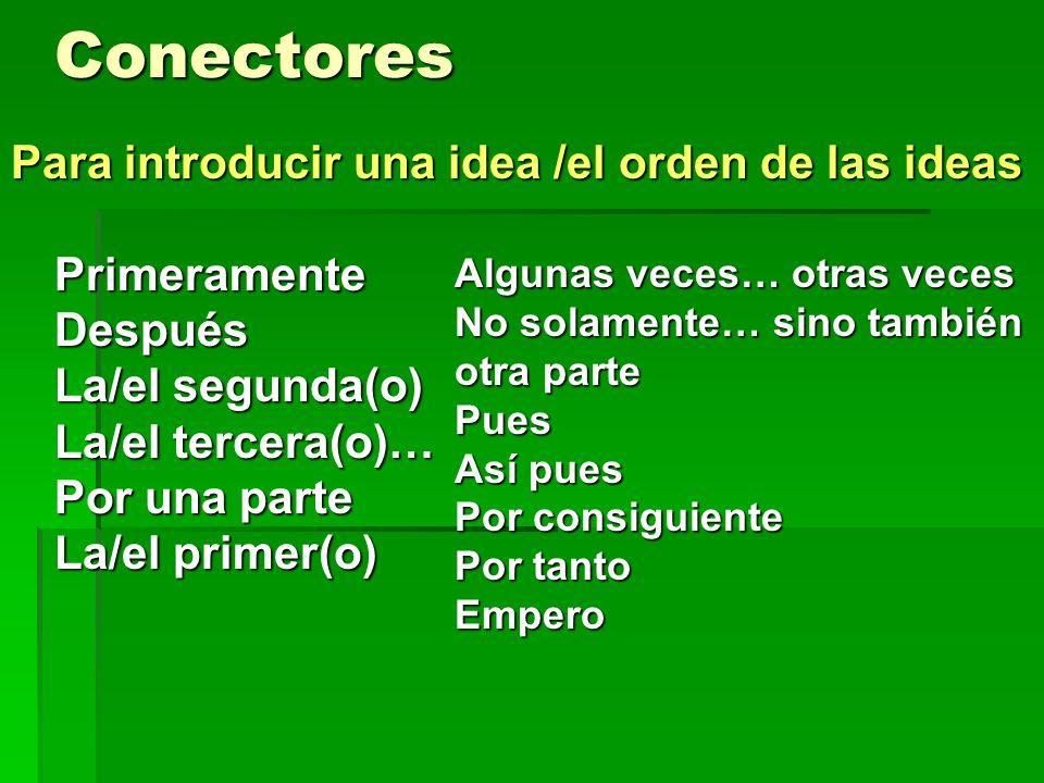 Conectores PrimeramenteDespués La/el segunda(o) La/el tercera(o)… Por una parte La/el primer(o) Algunas veces… otras veces No solamente… sino también