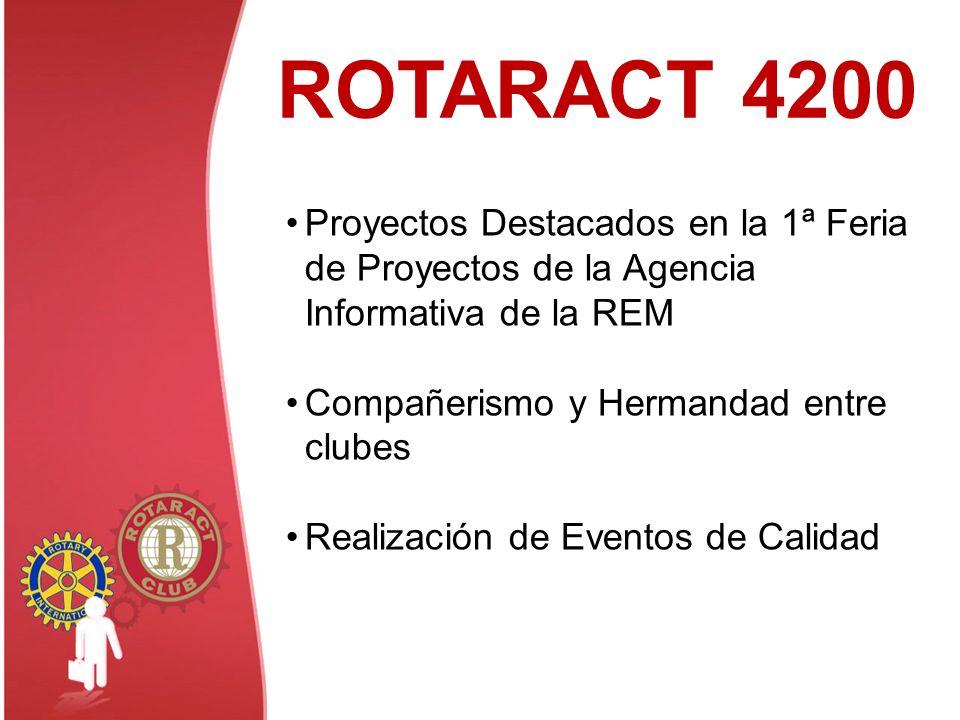 ROTARACT 4200 Proyectos Destacados en la 1ª Feria de Proyectos de la Agencia Informativa de la REM Compañerismo y Hermandad entre clubes Realización d