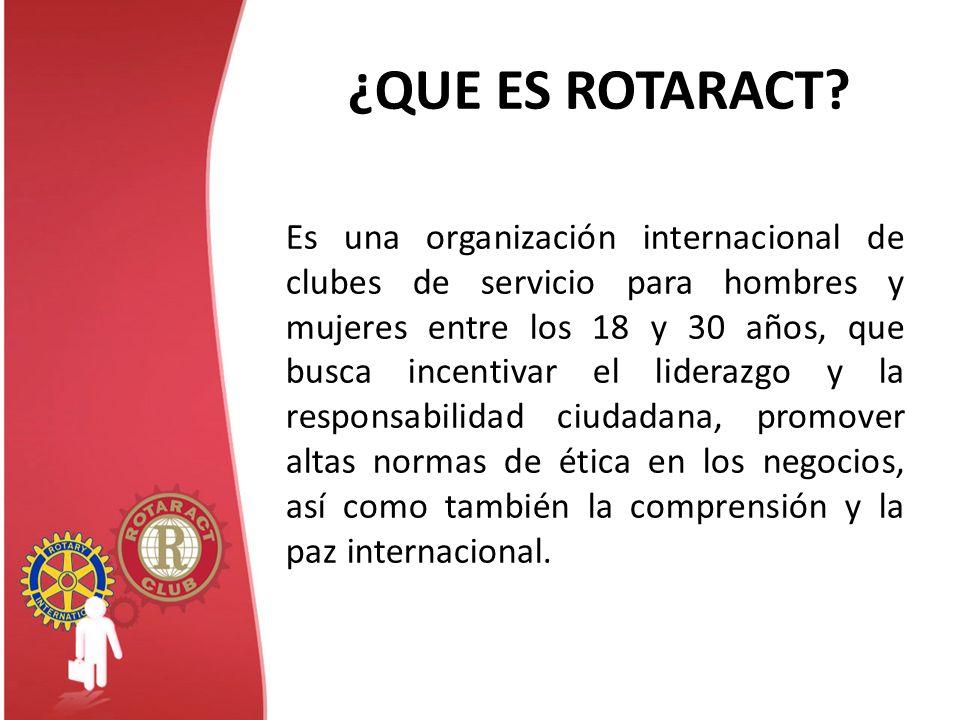 ¿QUE ES ROTARACT? Es una organización internacional de clubes de servicio para hombres y mujeres entre los 18 y 30 años, que busca incentivar el lider