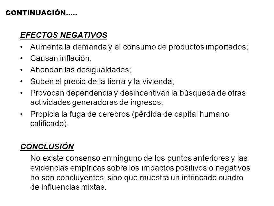 CONTINUACIÓN….. EFECTOS NEGATIVOS Aumenta la demanda y el consumo de productos importados; Causan inflación; Ahondan las desigualdades; Suben el preci