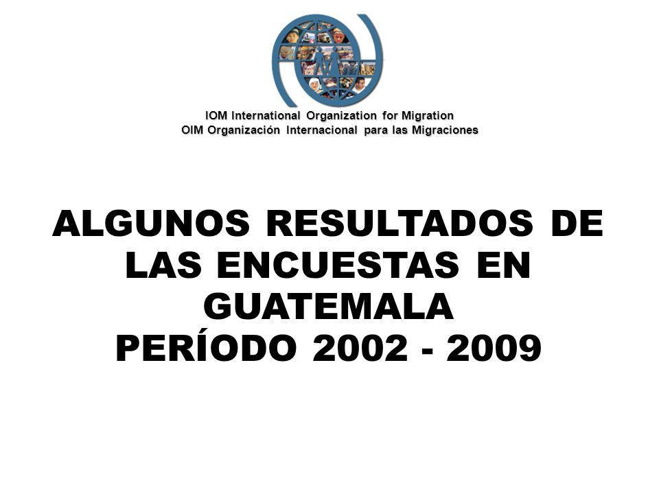 ALGUNOS RESULTADOS DE LAS ENCUESTAS EN GUATEMALA PERÍODO 2002 - 2009 IOM International Organization for Migration OIM Organización Internacional para