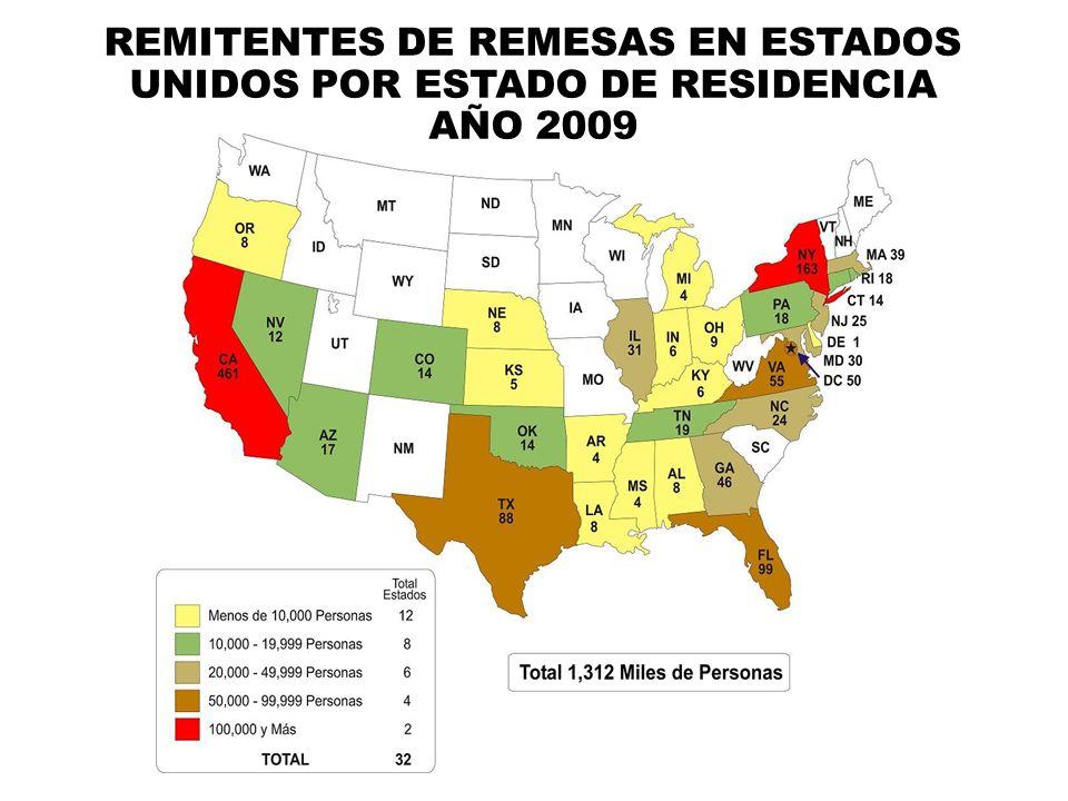 REMITENTES DE REMESAS EN ESTADOS UNIDOS POR ESTADO DE RESIDENCIA AÑO 2009