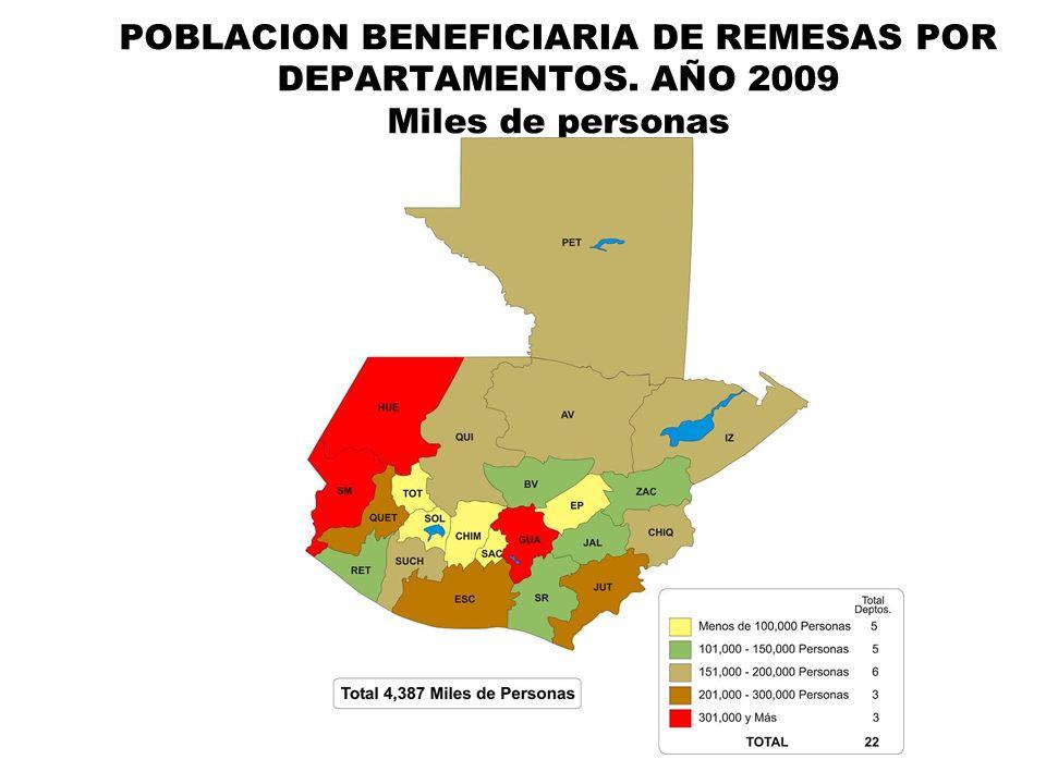 POBLACION BENEFICIARIA DE REMESAS POR DEPARTAMENTOS. AÑO 2009 Miles de personas