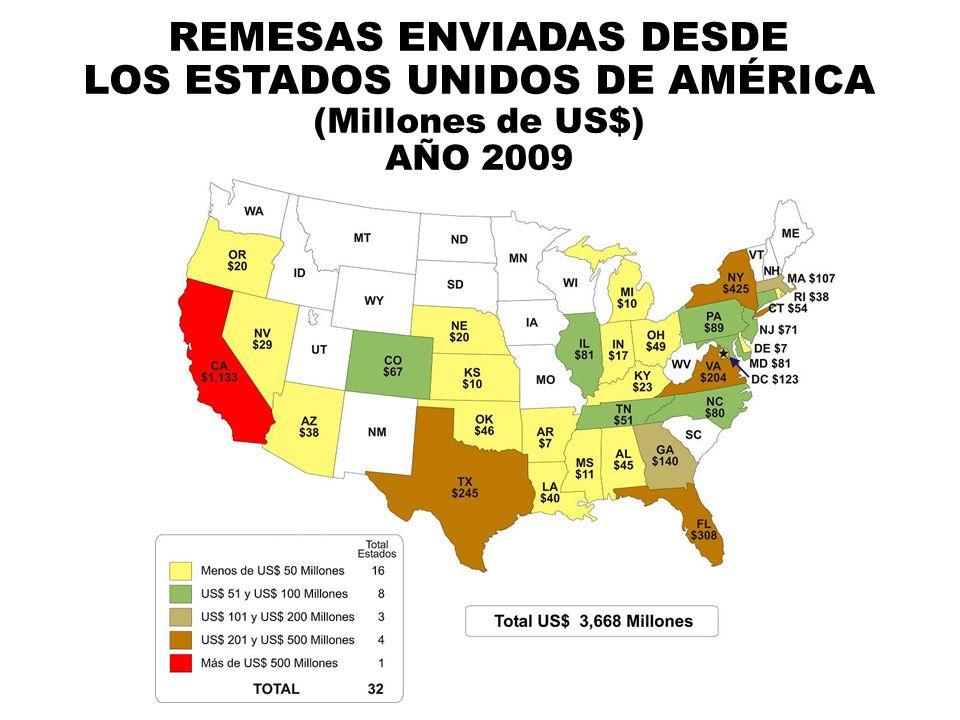 REMESAS ENVIADAS DESDE LOS ESTADOS UNIDOS DE AMÉRICA (Millones de US$) AÑO 2009