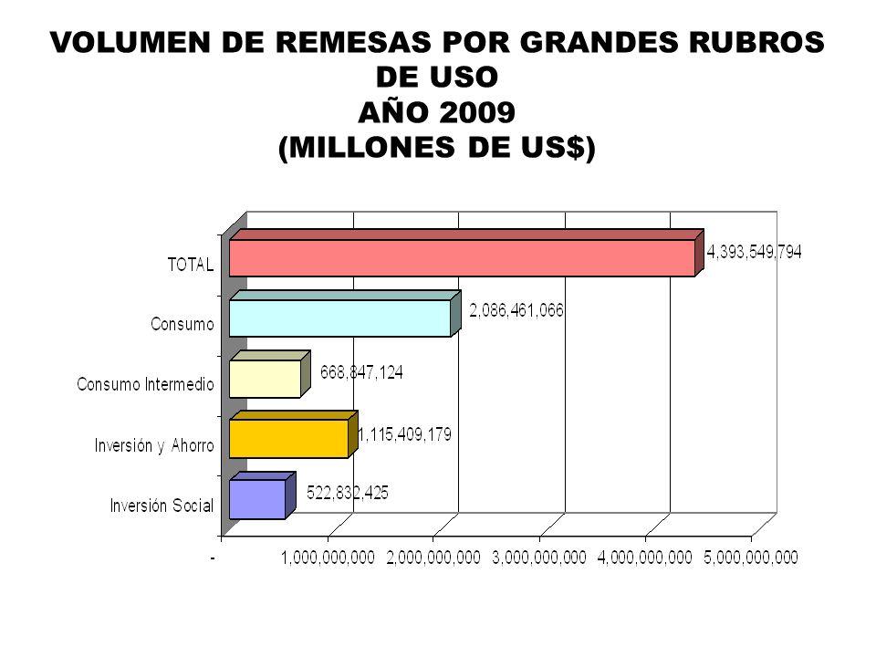 VOLUMEN DE REMESAS POR GRANDES RUBROS DE USO AÑO 2009 (MILLONES DE US$)