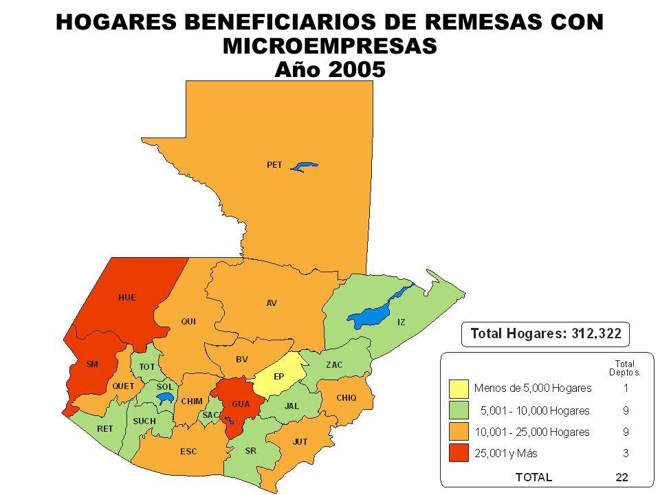 HOGARES BENEFICIARIOS DE REMESAS CON MICROEMPRESAS Año 2005